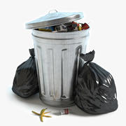 Garbage Can and Bags 3d model