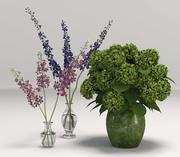 Lila Orchidee und grüne Blumen 3d model