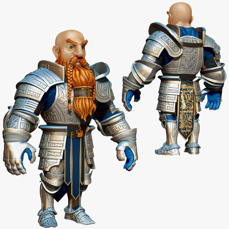 Dwarf Knight D2K3 royalty-free 3d model - Preview no. 1