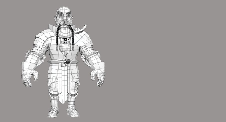 Dwarf Knight D2K3 royalty-free 3d model - Preview no. 24