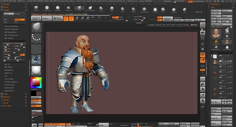 Dwarf Knight D2K3 royalty-free 3d model - Preview no. 43