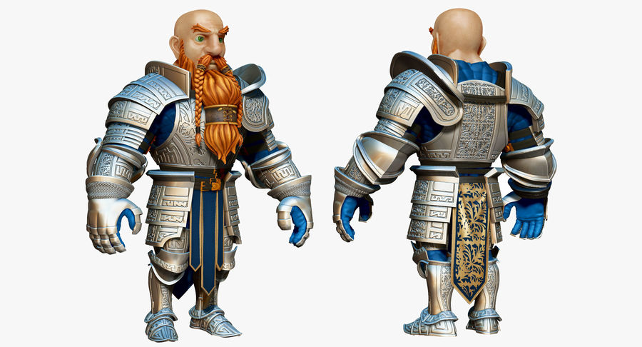 Dwarf Knight D2K3 royalty-free 3d model - Preview no. 2