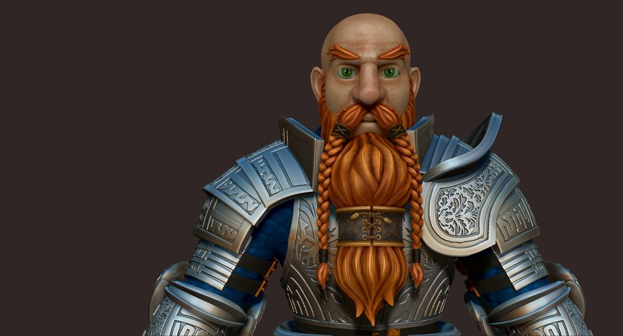 Dwarf Knight D2K3 royalty-free 3d model - Preview no. 3
