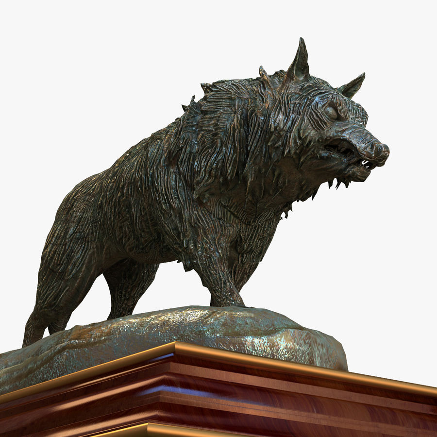 Lupo Statuetta royalty-free 3d model - Preview no. 10