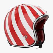 Casco Moto Rubino bianco-rosso 3d model