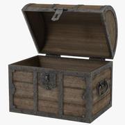 Baú de madeira velho 3d model