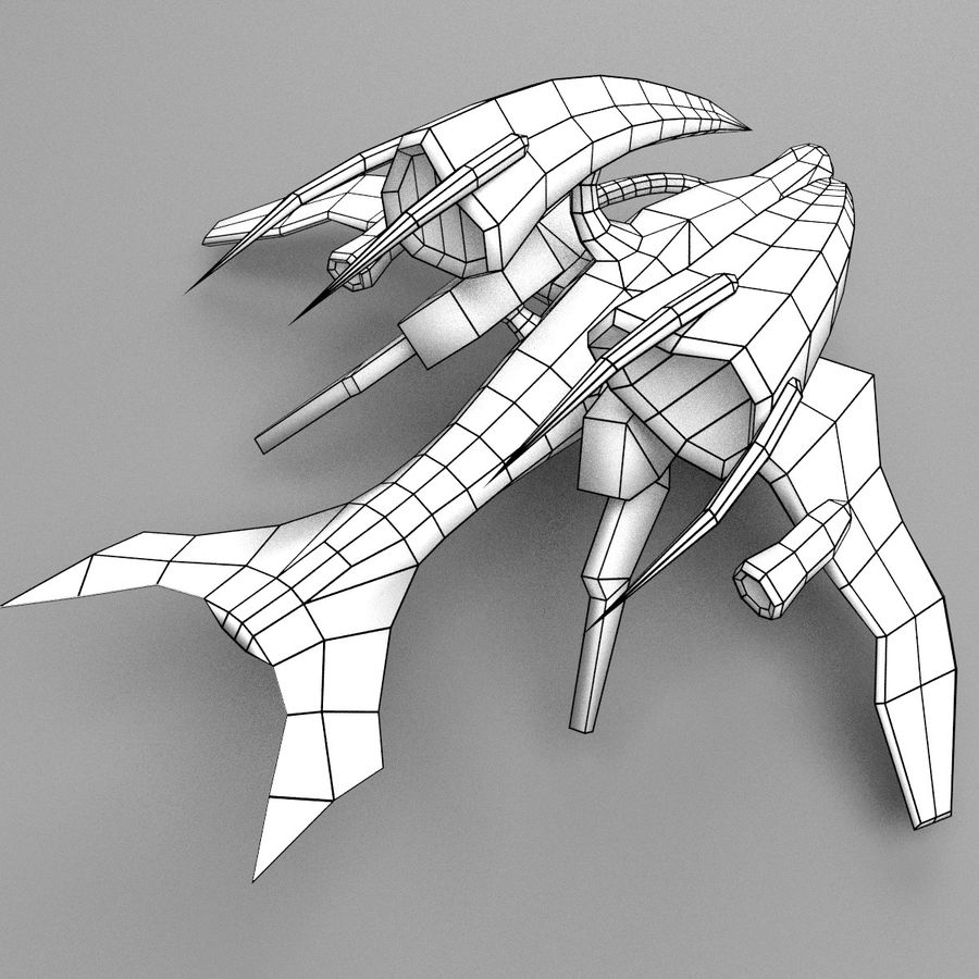 Alien Fighter royalty-free 3d model - Preview no. 8