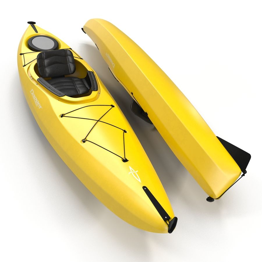 Kayak Yellow 3D Model royalty-free 3d model - Preview no. 5