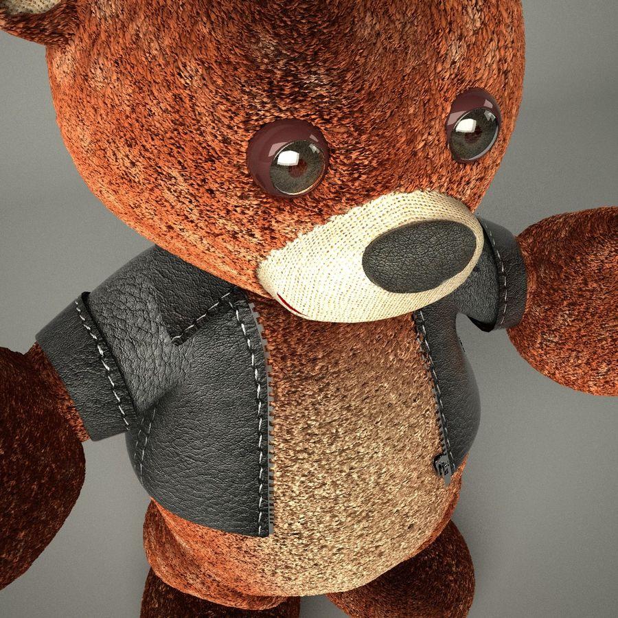 Urso de pelúcia com jaqueta de couro - em pé royalty-free 3d model - Preview no. 6