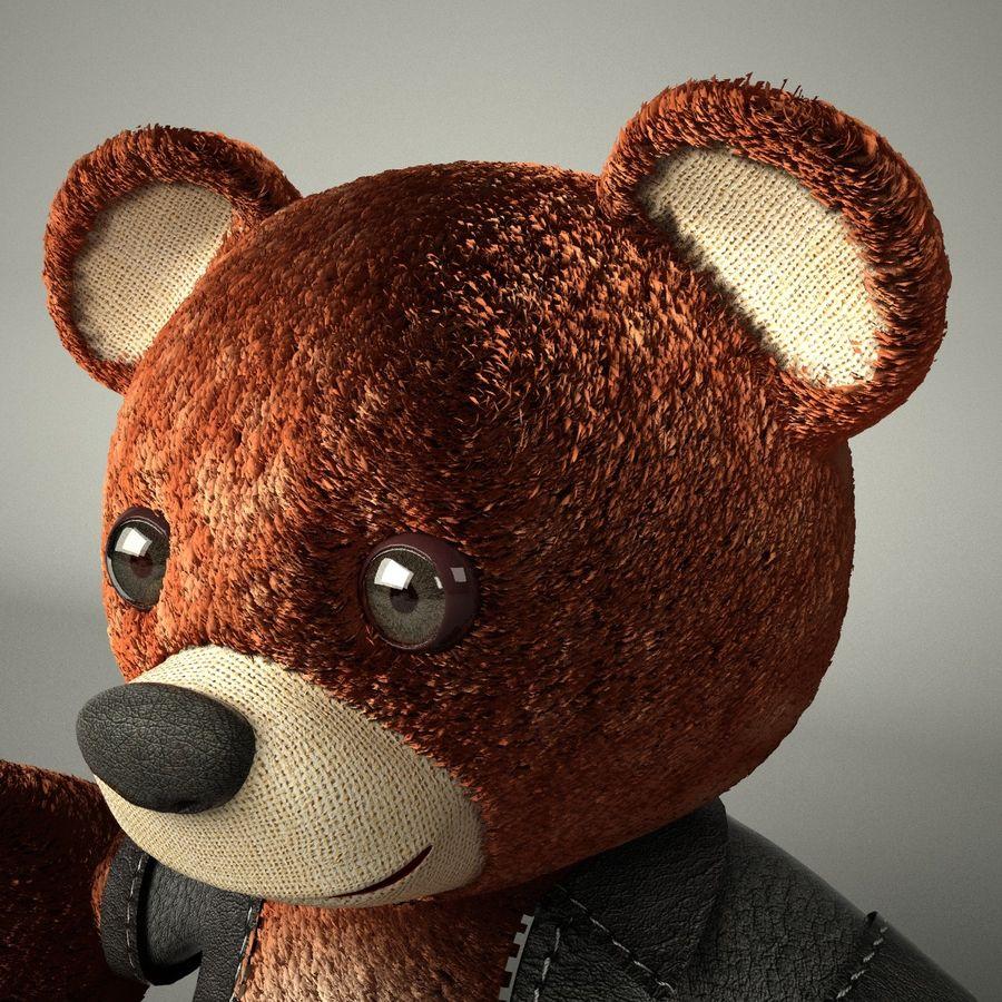 Urso de pelúcia com jaqueta de couro - em pé royalty-free 3d model - Preview no. 3
