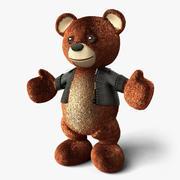 Deri Ceketli Teddy Bear - Ayakta 3d model