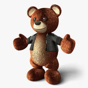 Teddy Bear with Leather Jacket - Standing 3d model