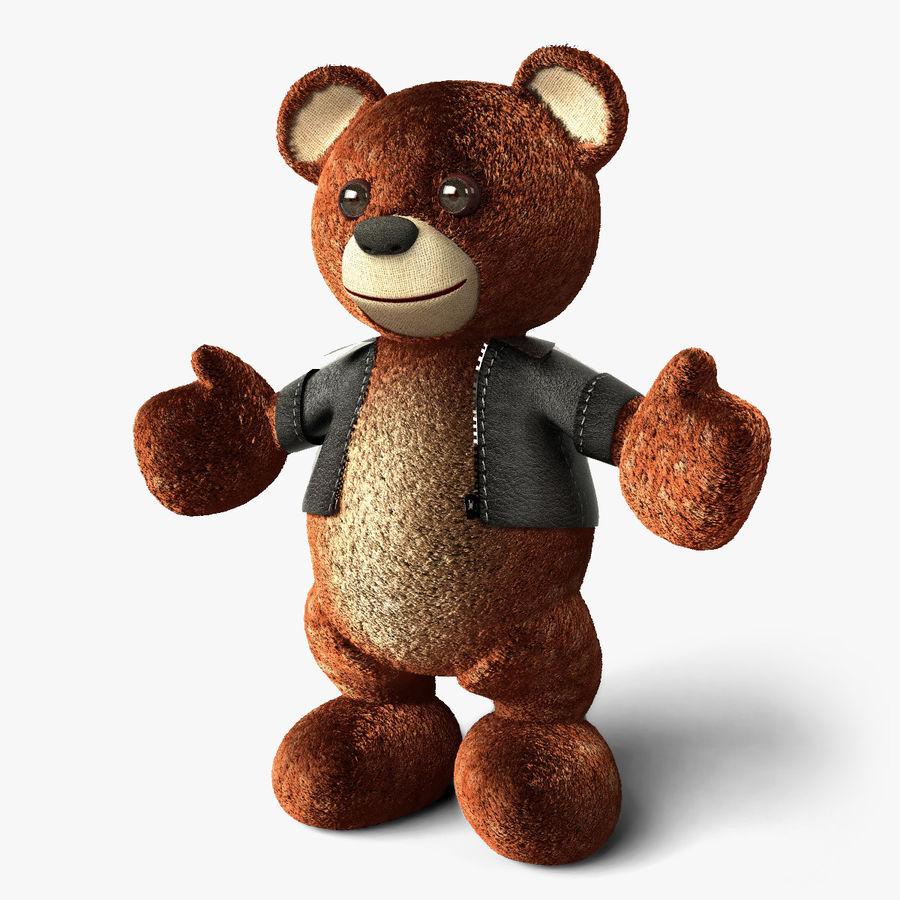 Urso de pelúcia com jaqueta de couro - em pé royalty-free 3d model - Preview no. 1