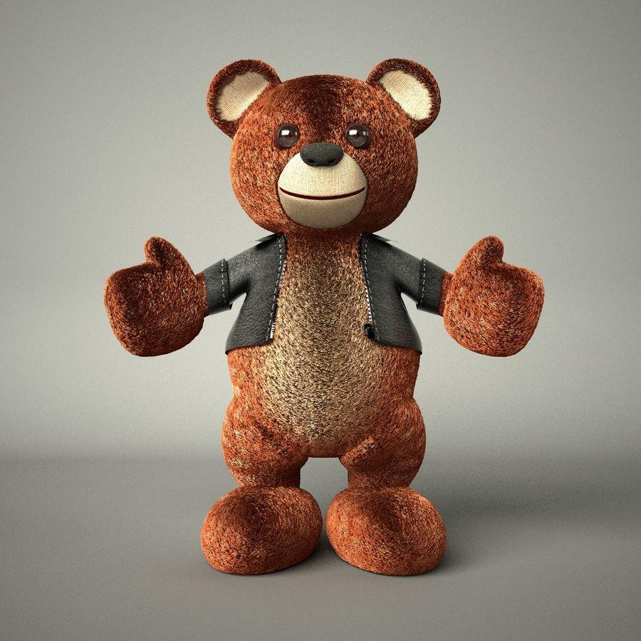Urso de pelúcia com jaqueta de couro - em pé royalty-free 3d model - Preview no. 4