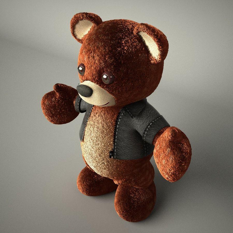 Urso de pelúcia com jaqueta de couro - em pé royalty-free 3d model - Preview no. 8
