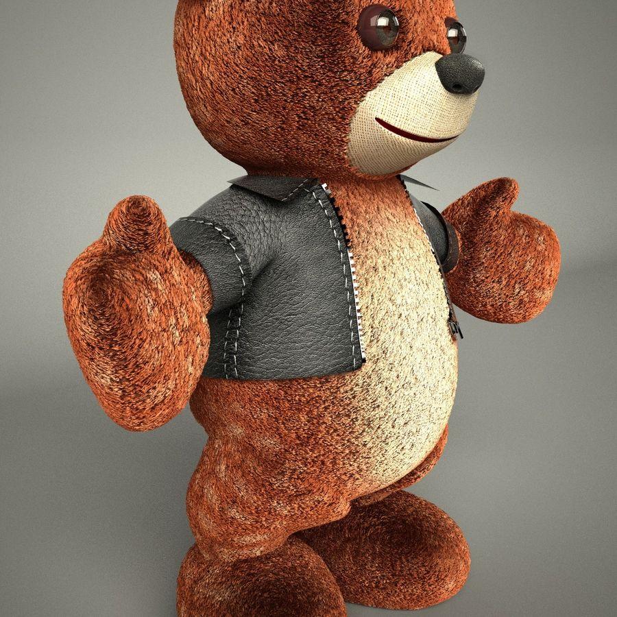 Urso de pelúcia com jaqueta de couro - em pé royalty-free 3d model - Preview no. 7