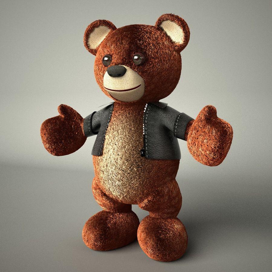Urso de pelúcia com jaqueta de couro - em pé royalty-free 3d model - Preview no. 2
