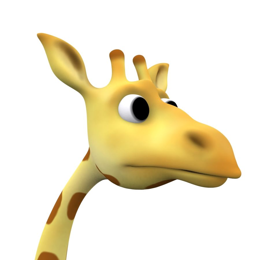 Girafe de dessin animé truqué royalty-free 3d model - Preview no. 4