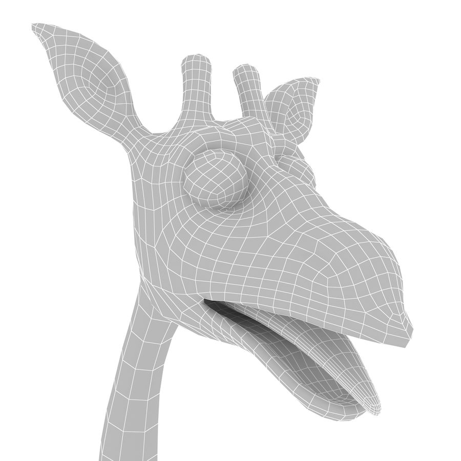 Girafe de dessin animé truqué royalty-free 3d model - Preview no. 10