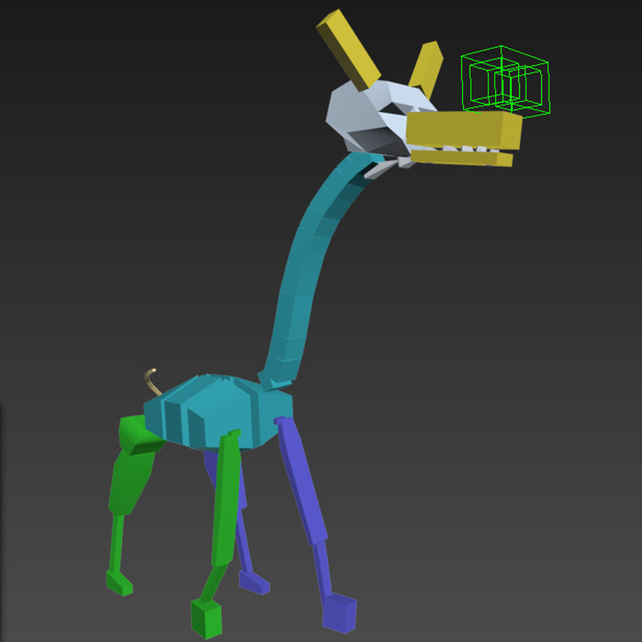 Girafe de dessin animé truqué royalty-free 3d model - Preview no. 7