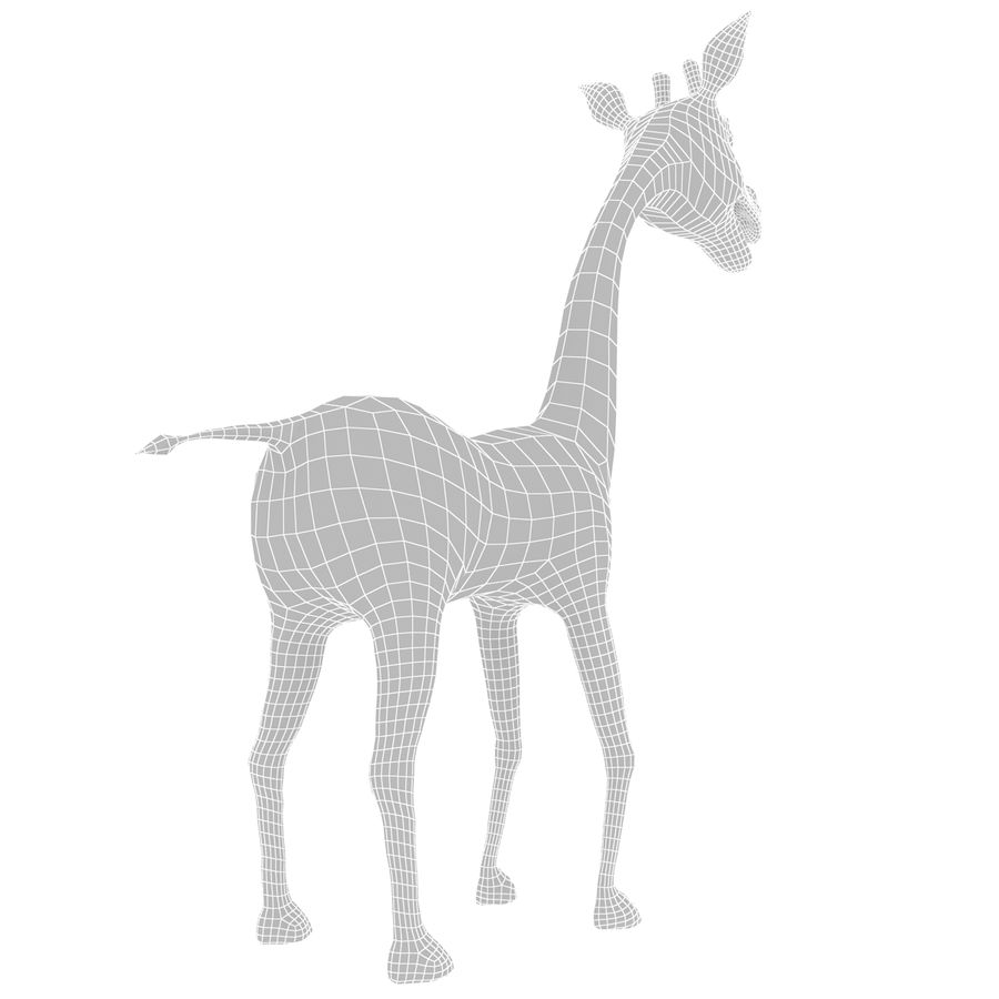 Girafe de dessin animé truqué royalty-free 3d model - Preview no. 11