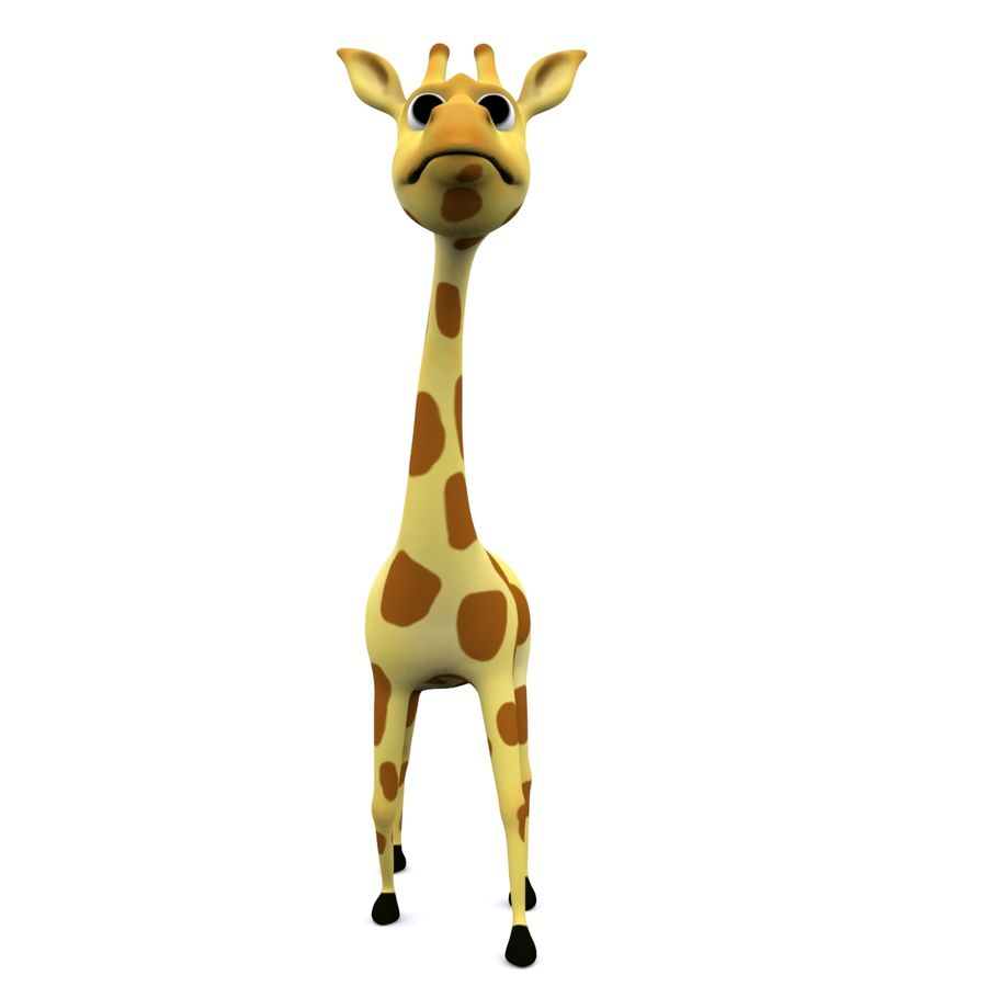Girafe de dessin animé truqué royalty-free 3d model - Preview no. 3