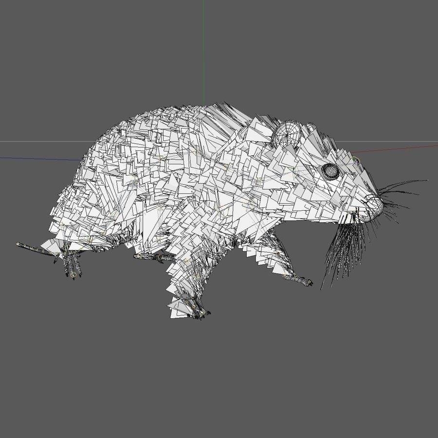 Animated Running Grey Mouse royalty-free 3d model - Preview no. 9