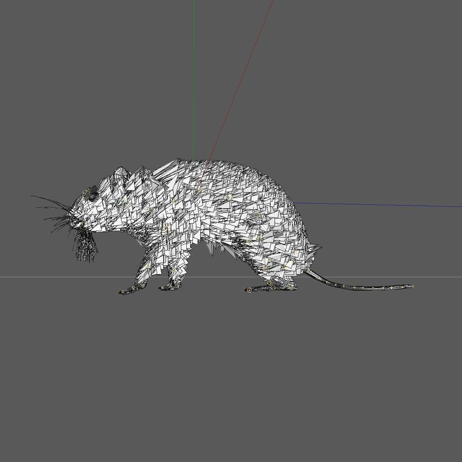Animated Running Grey Mouse royalty-free 3d model - Preview no. 10