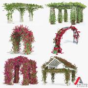 Zestaw Bougainvillea Wspinaczka Róże 6 Pergoli Z Kwiatami Bluszczu 3d model