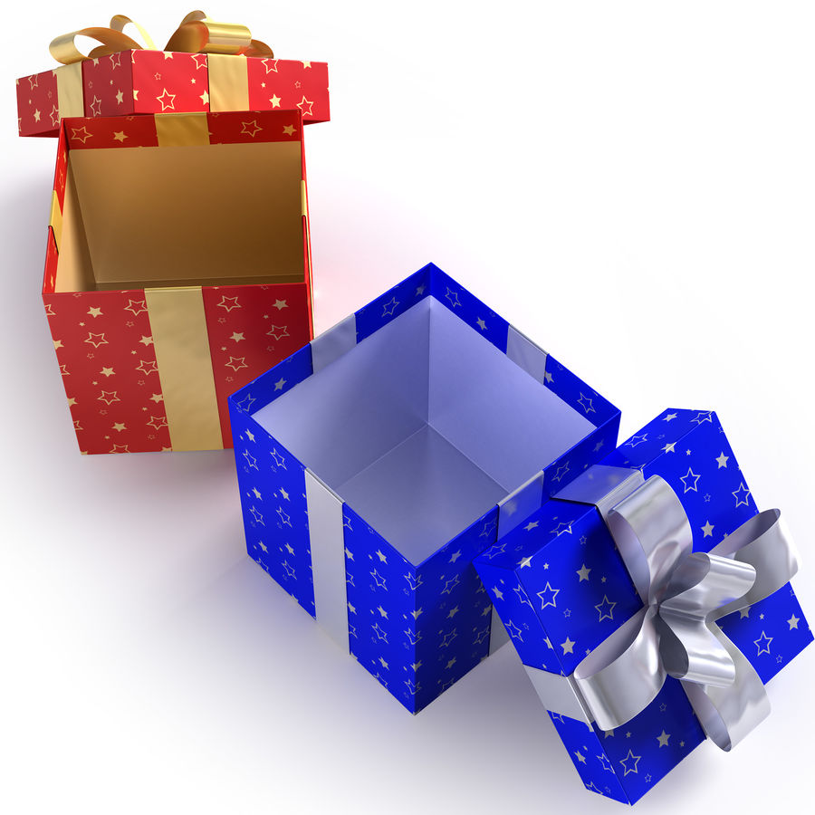 Geschenkboxen - Rot & Blau royalty-free 3d model - Preview no. 7