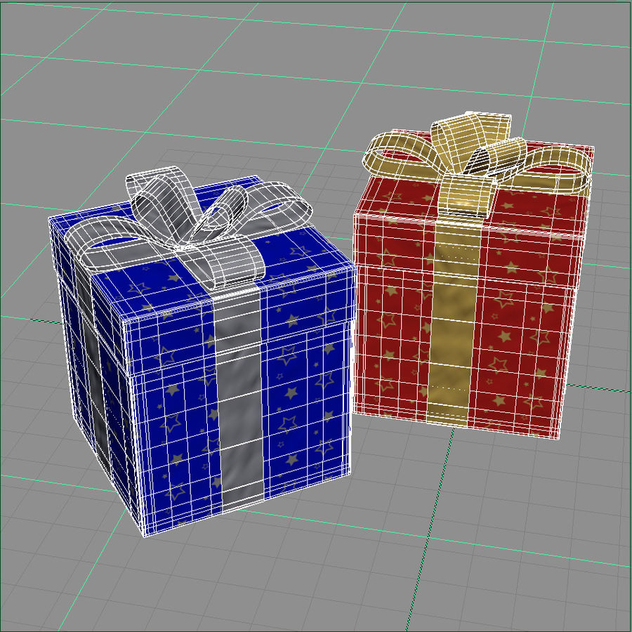 Geschenkboxen - Rot & Blau royalty-free 3d model - Preview no. 9
