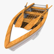 Wooden Rowing Boat 3d model