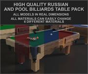 Havuz ve Rus bilardo masaları paketi (9, 8, 7 ft) (Oyuna hazır) 3d model
