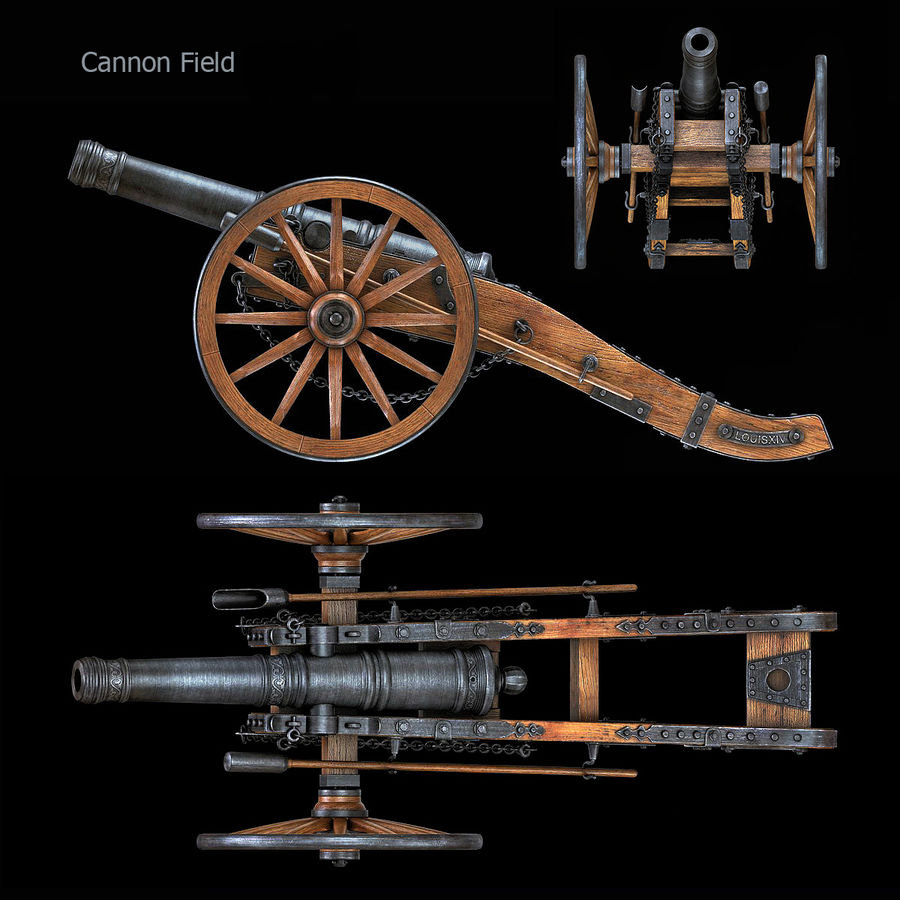 Field Cannon royalty-free 3d model - Preview no. 3