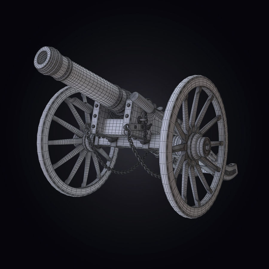 Field Cannon royalty-free 3d model - Preview no. 8