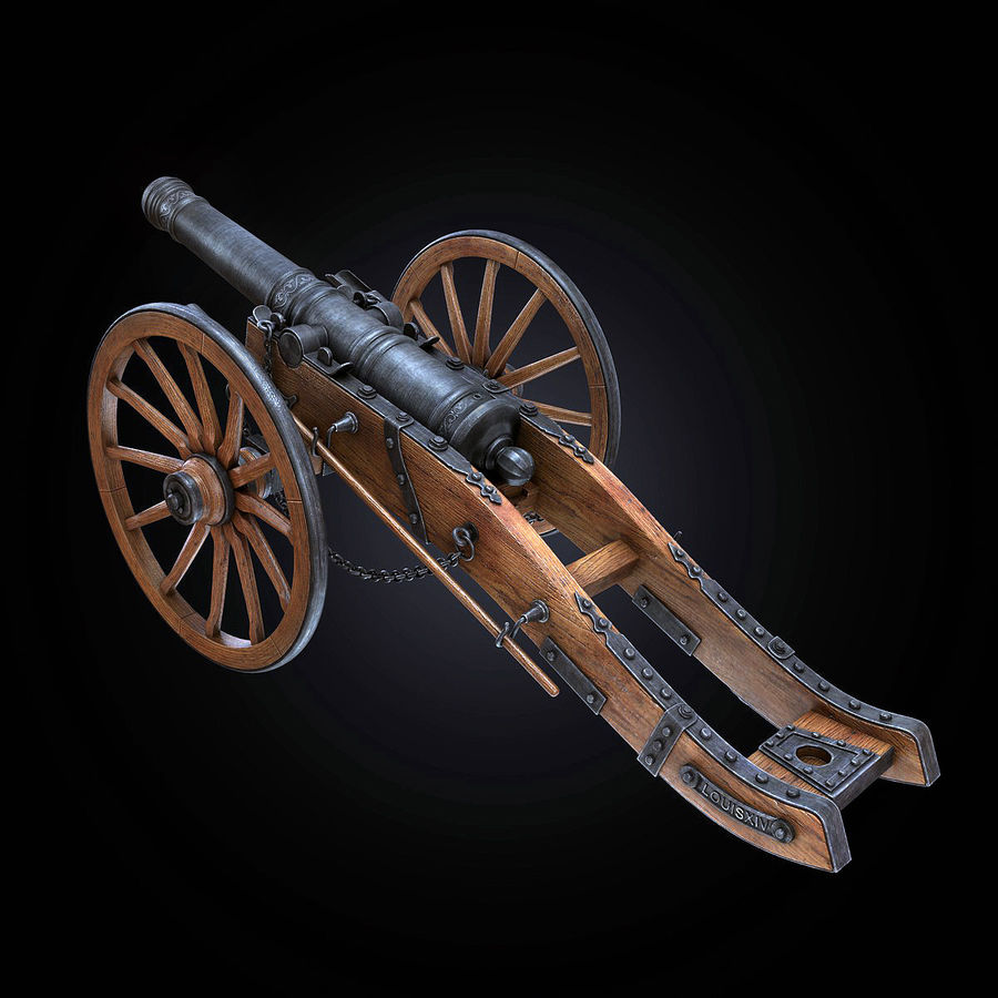 Field Cannon royalty-free 3d model - Preview no. 7