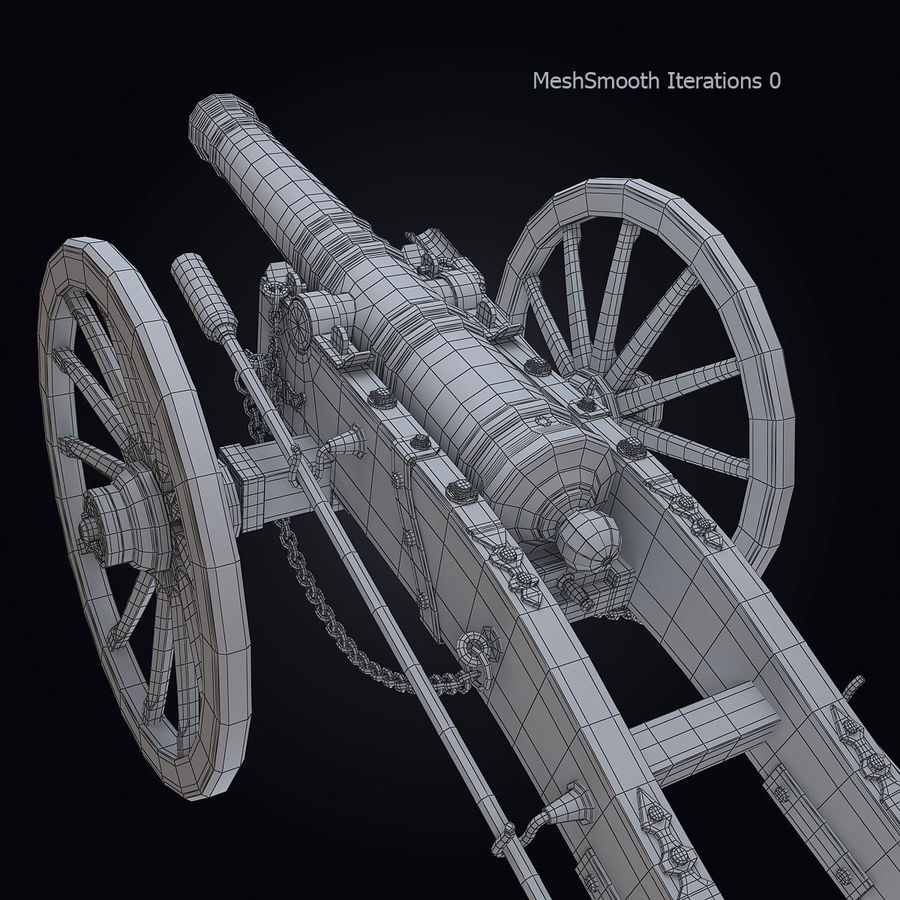 Field Cannon royalty-free 3d model - Preview no. 4