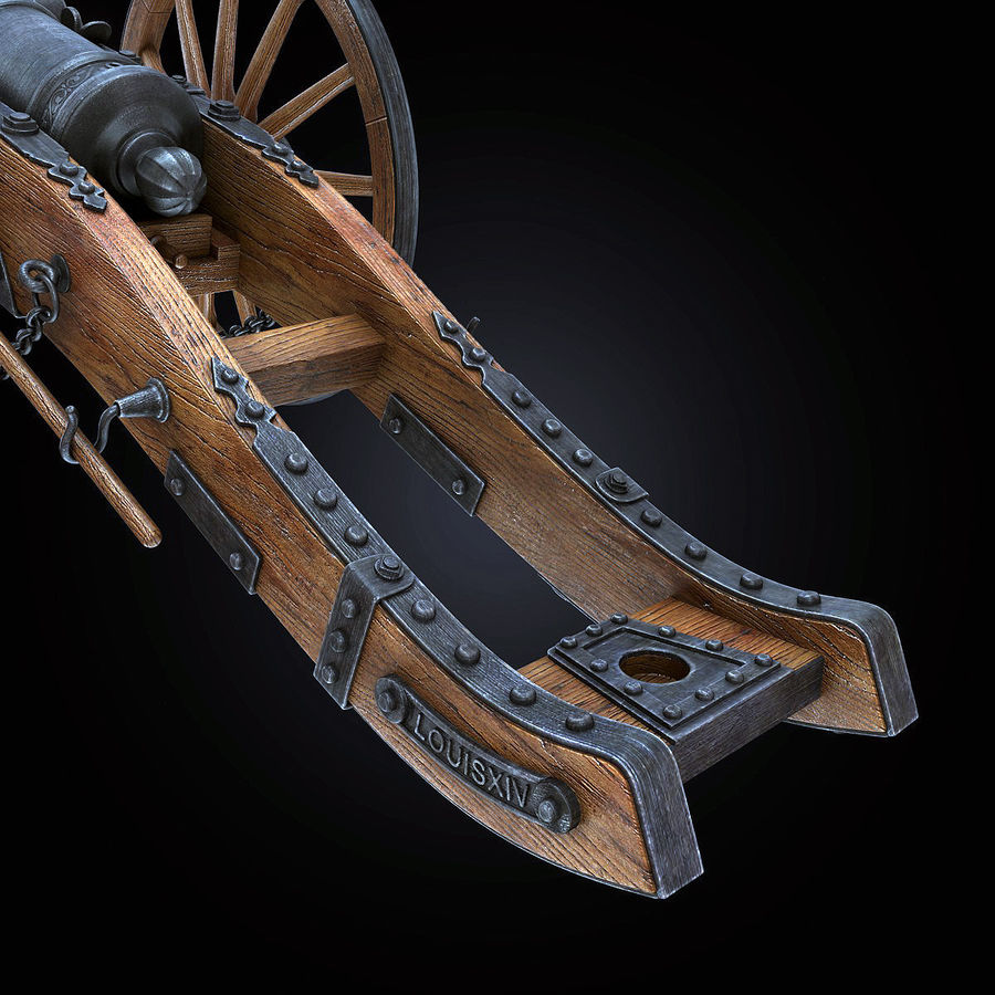 Field Cannon royalty-free 3d model - Preview no. 6