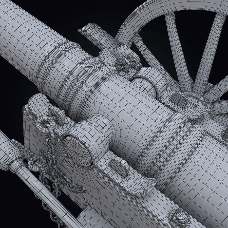 Field Cannon royalty-free 3d model - Preview no. 14