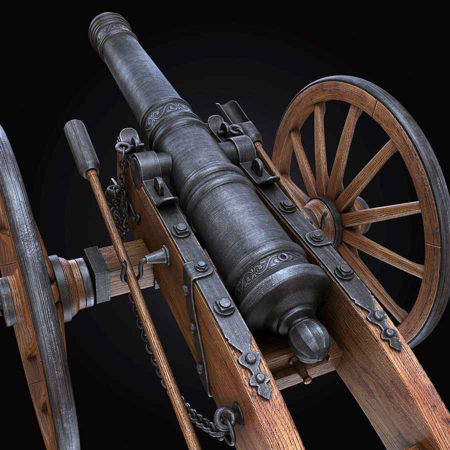 Field Cannon royalty-free 3d model - Preview no. 15