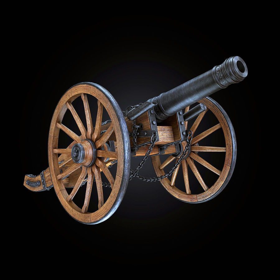 Field Cannon royalty-free 3d model - Preview no. 11