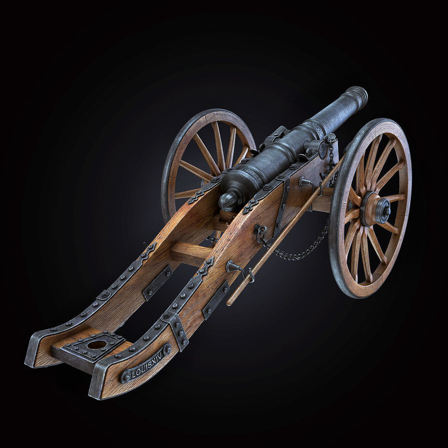Field Cannon royalty-free 3d model - Preview no. 1