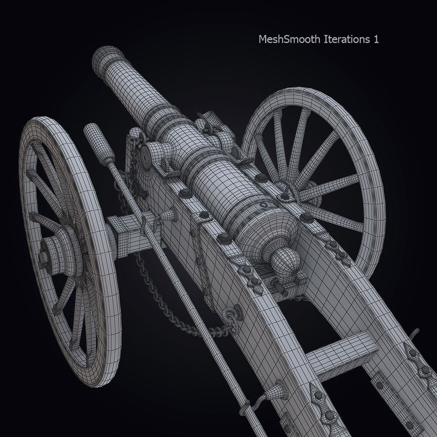 Field Cannon royalty-free 3d model - Preview no. 5
