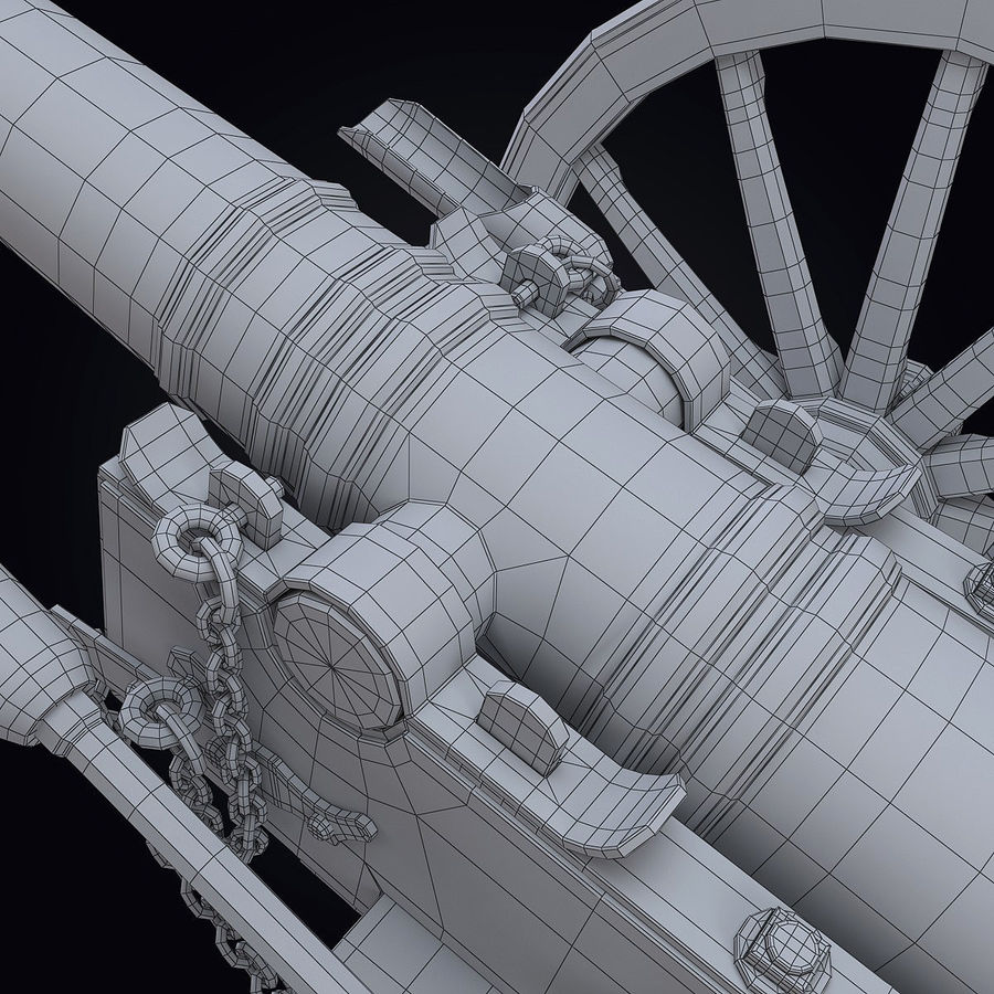 Field Cannon royalty-free 3d model - Preview no. 13