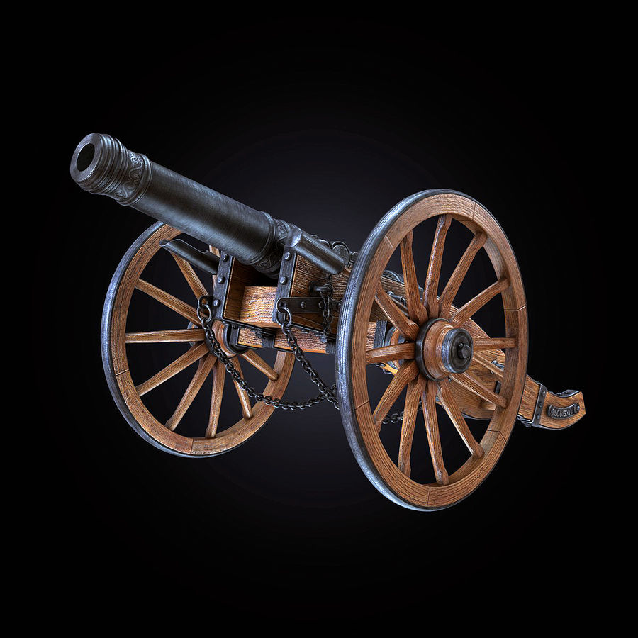 Field Cannon royalty-free 3d model - Preview no. 10