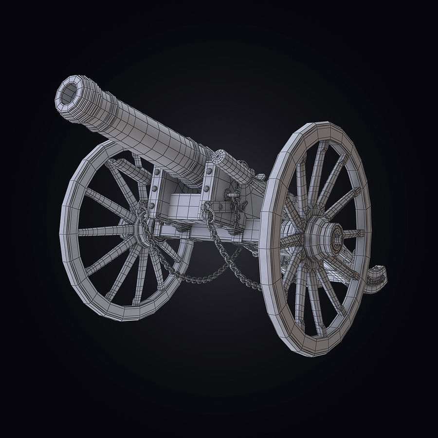 Field Cannon royalty-free 3d model - Preview no. 9