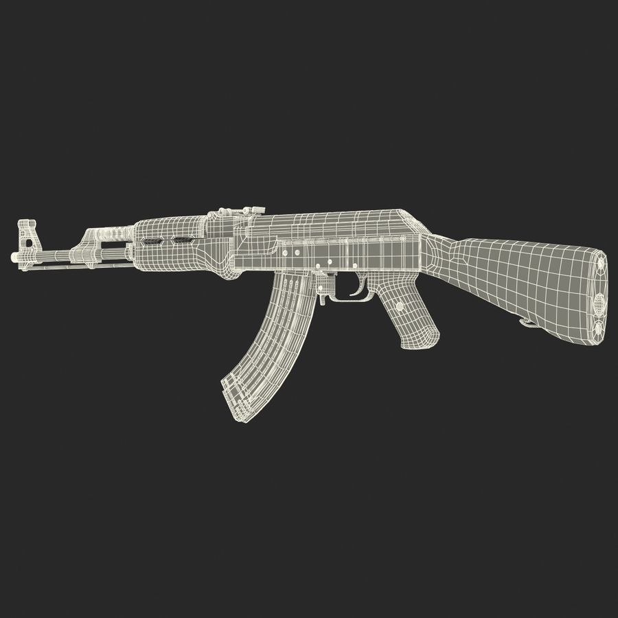 Assault Rifle AK 47 royalty-free 3d model - Preview no. 28