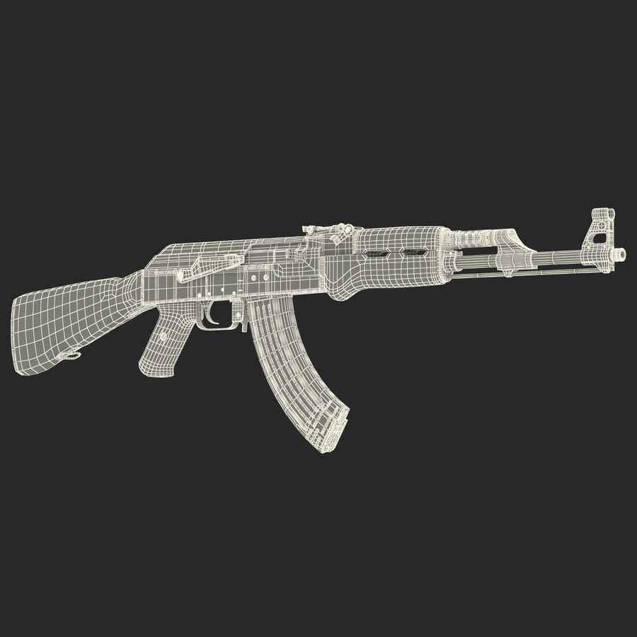 Assault Rifle AK 47 royalty-free 3d model - Preview no. 27