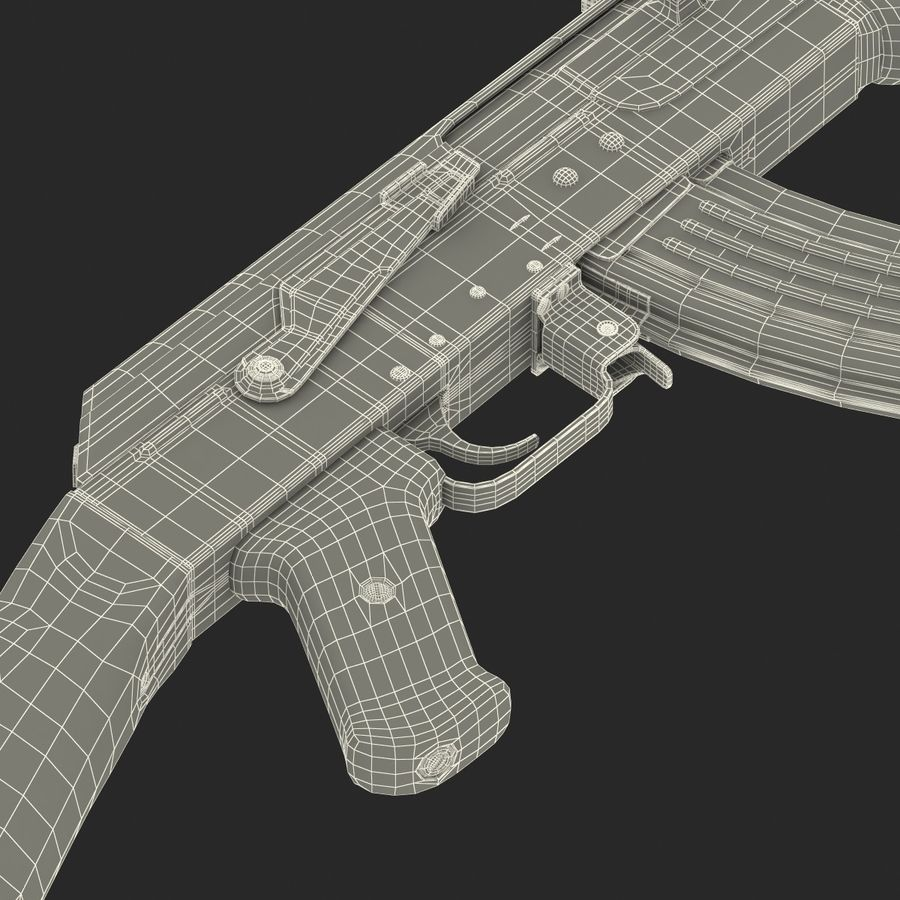 Assault Rifle AK 47 royalty-free 3d model - Preview no. 33