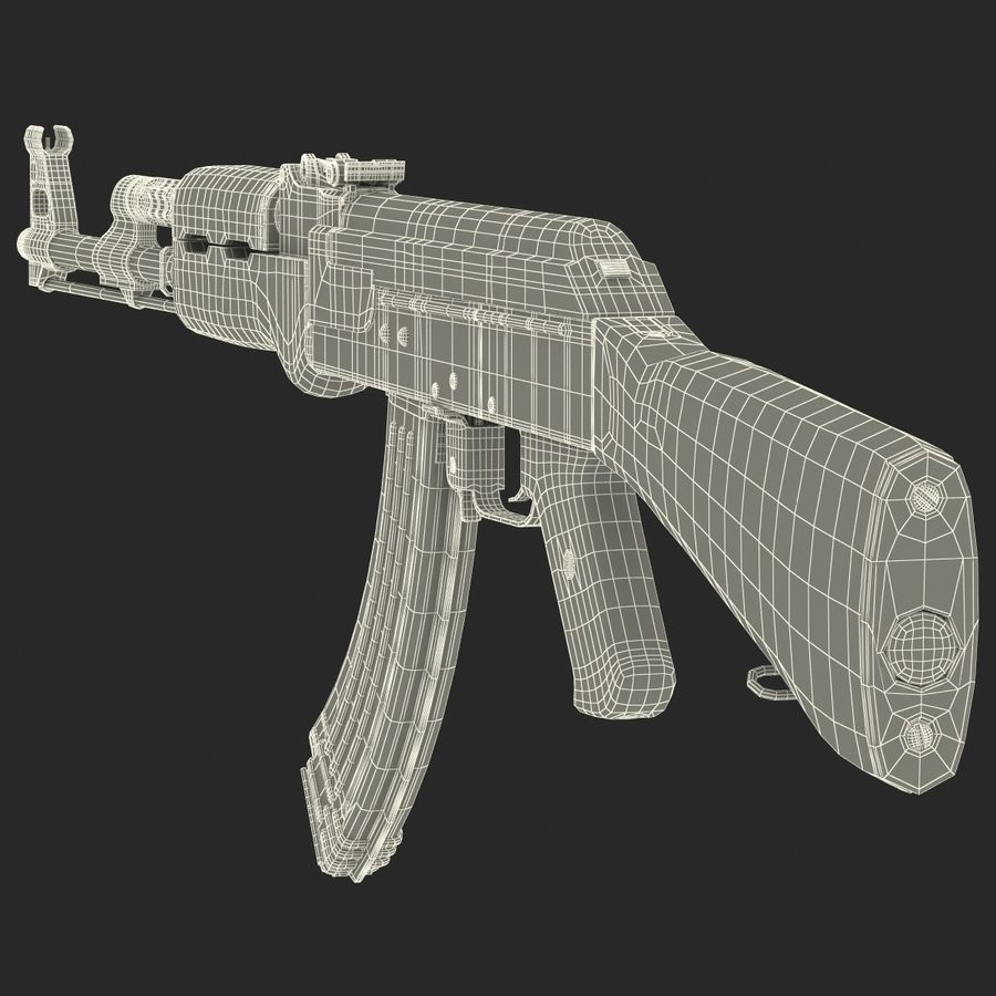 Assault Rifle AK 47 royalty-free 3d model - Preview no. 30